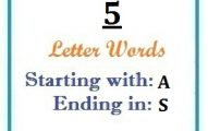 Five letter words starting with A and ending in S
