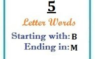Five letter words starting with B and ending in M