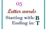 Five letter words starting with B and ending in S