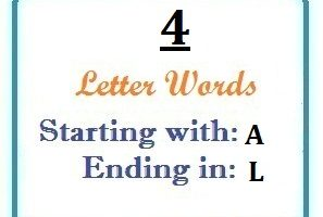 Four letter words starting with A and ending in L