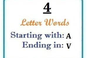 Four letter words starting with A and ending in V