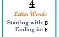 Four letter words starting with B and ending in E