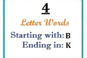 Four letter words starting with B and ending in K