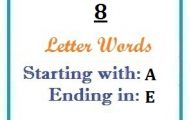 Eight letter words starting with A and ending in E