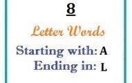 Eight letter words starting with A and ending in L