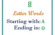 Eight letter words starting with A and ending in O