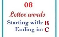 Eight letter words starting with B and ending in C