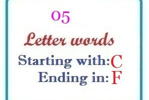 Five letter words starting with C and ending in F