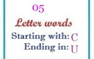 Five letter words starting with C and ending in U