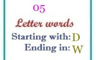 Five letter words starting with D and ending in W