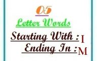 Five letter words starting with I and ending in M