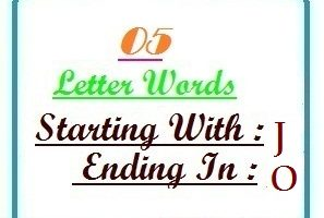 Five letter words starting with J and ending in O