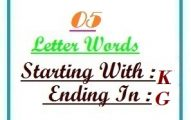 Five letter words starting with K and ending in G
