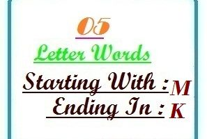Five letter words starting with M and ending in K