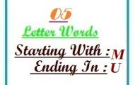 Five letter words starting with M and ending in U