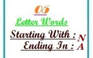 Five letter words starting with N and ending in A