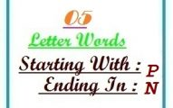 Five letter words starting with P and ending in N
