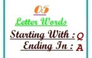 Five letter words starting with Q and ending in A