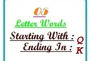 Five letter words starting with Q and ending in K