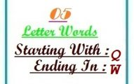 Five letter words starting with Q and ending in W