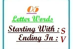 Five letter words starting with S and ending in V