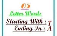Five letter words starting with T and ending in A