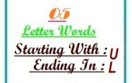 Five letter words starting with U and ending in L