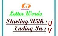 Five letter words starting with U and ending in V