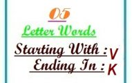 Five letter words starting with V and ending in K