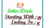 Five letter words starting with W and ending in K