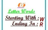 Five letter words starting with W and ending in R