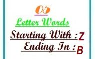 Five letter words starting with Z and ending in B