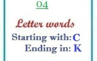 Four letter words starting with C and ending in K