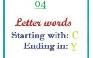 Four letter words starting with C and ending in Y