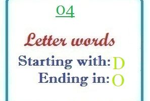 Four letter words starting with D and ending in O
