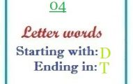 Four letter words starting with D and ending in T