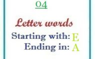 Four letter words starting with E and ending in A