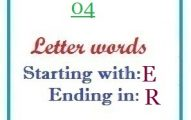 Four letter words starting with E and ending in R