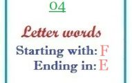 Four letter words starting with F and ending in E