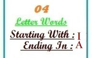 Four letter words starting with I and ending in A