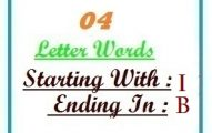 Four letter words starting with I and ending in B