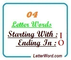 Four letter words starting with I and ending in O | Letters in