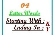 Four letter words starting with K and ending in Y