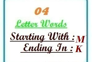 Four letter words starting with M and ending in K