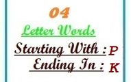 Four letter words starting with P and ending in K
