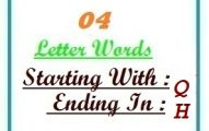 Four letter words starting with Q and ending in H