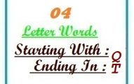 Four letter words starting with Q and ending in T