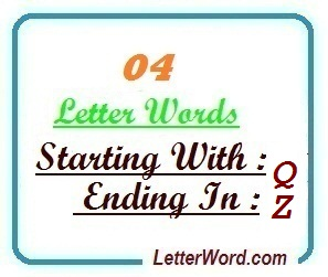 Four letter words starting with Q and ending in Z