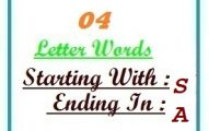 Four letter words starting with S and ending in A
