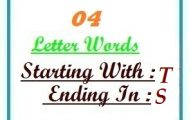 Four letter words starting with T and ending in S